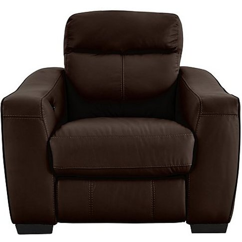 Cressida Leather Recliner Armchair - Brown- World Of...