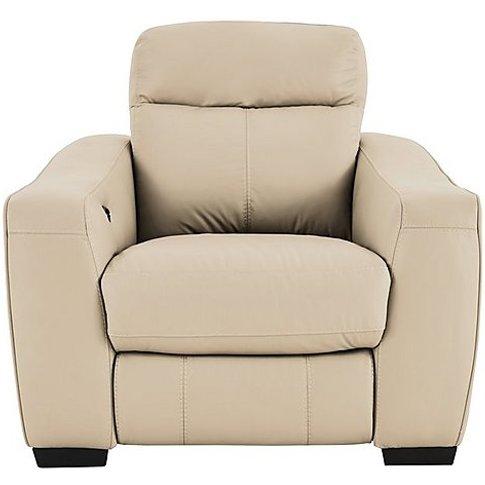 Cressida Leather Recliner Armchair - Cream- World Of...