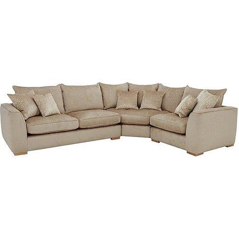 Lush Classic Back Fabric Corner Sofa - Beige - By Fu...