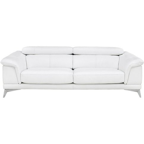 Corium Echo Large 3 Seater Classic Back Leather Sofa - White - By Furniture Village