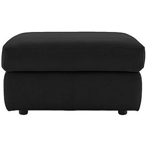 G Plan - Miller Leather Storage Footstool - Black
