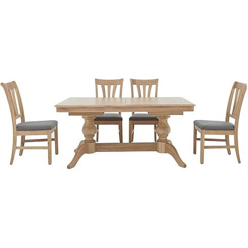 Maison Extending Dining Table And 4 Slatted Dining C...