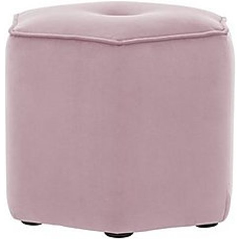 Connection Large Hex Fabric Footstool - Pink