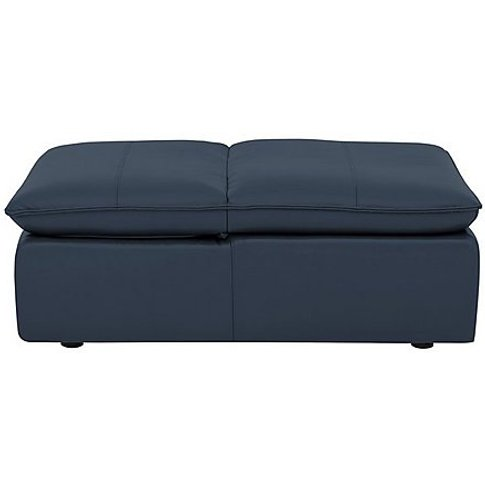 Geminii Action Footstool - Blue- World Of Leather