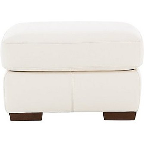 Rome Leather Footstool - White