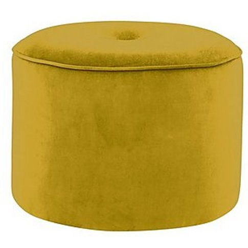Connection Large Fabric Drum Footstool - Yellow