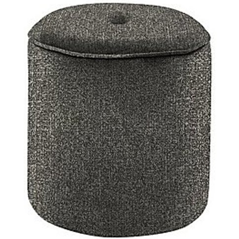Connection Small Fabric Drum Footstool - Grey