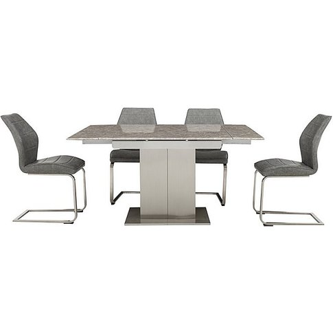 Cornerstone Extending Dining Table And 4 Chairs - Grey