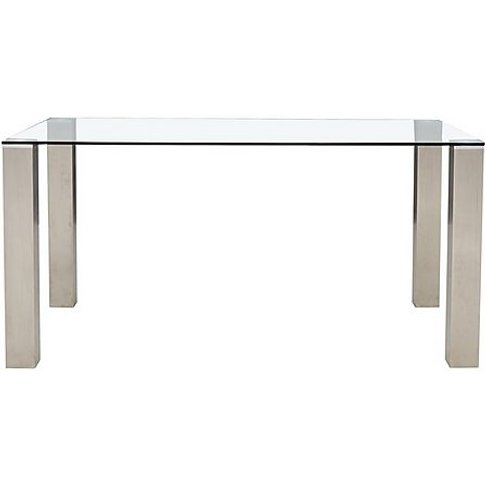 Ideas Glass Top Dining Table - 120-Cm - Clear