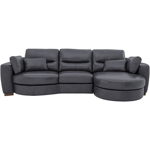 Curves 3 Seater Leather Chaise Sofa - Blue - By Furn...