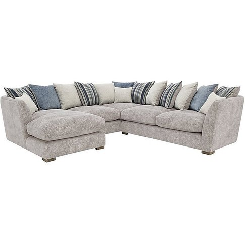 Nautical Large Scatter Back Chaise Corner Sofa - Grey