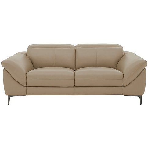 Galaxy 3 Seater Leather Sofa With Manual Headrests -...