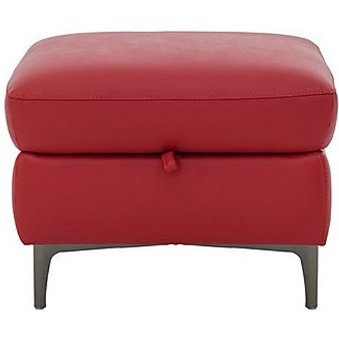 Galaxy Storage Footstool - Red- World Of Leather