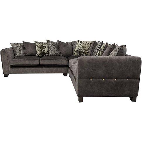 Ariana Large Pillow Back Fabric Corner Sofa - Grey