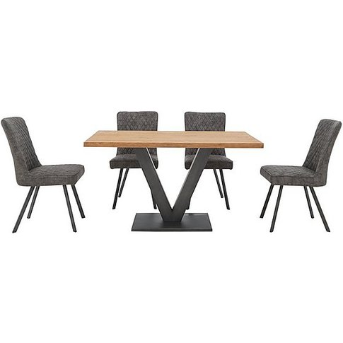 Compact Earth Dining Table And 4 Chairs - Grey