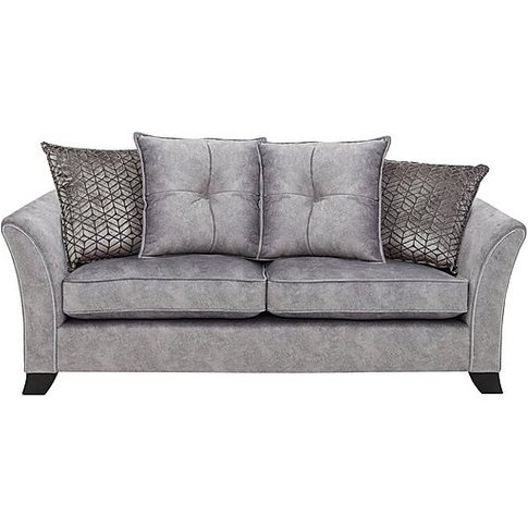 Amora 3 Seater Fabric Pillow Back Sofa - Silver - By...
