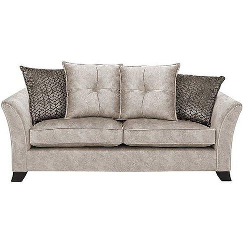 Amora 3 Seater Fabric Pillow Back Sofa Bed - Cream