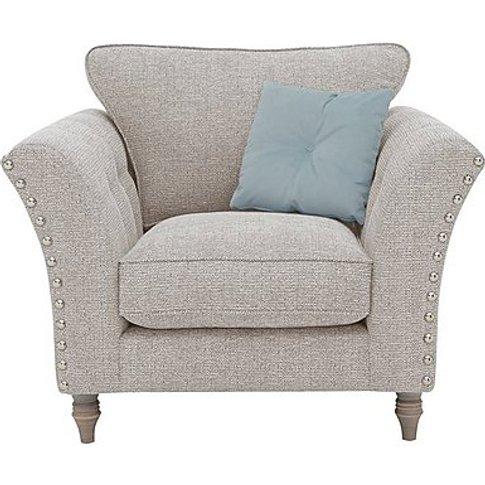 Glitz Studded Fabric Armchair - Cream