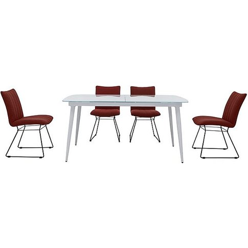 Ace Large Extending Dining Table And 4 Chairs - Orange