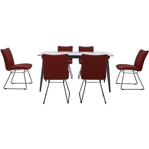Ace Large Extending Dining Table And 6 Chairs - Orange