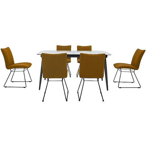 Ace Large Extending Dining Table And 6 Chairs - Yellow