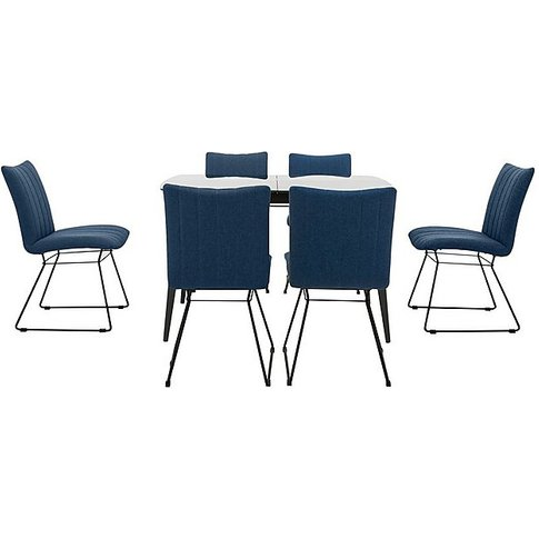 Ace Small Extending Dining Table And 6 Chairs - Blue