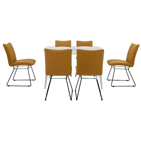 Ace Small Extending Dining Table And 6 Chairs - Yellow