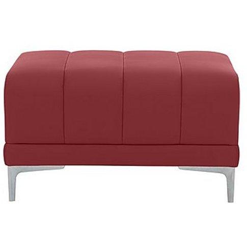 Nicoletti - Azzurro Leather Footstool - Red