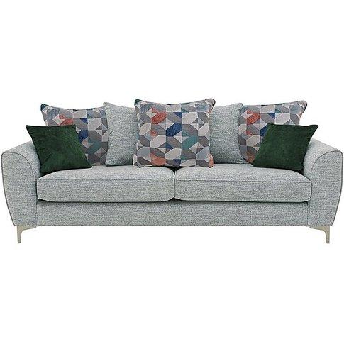Isla 4 Seater Fabric Pillow Back Sofa - Grey