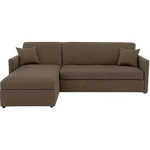 Versatile 2 Seater Fabric Chaise Sofa Bed With Slim Arms - Mink