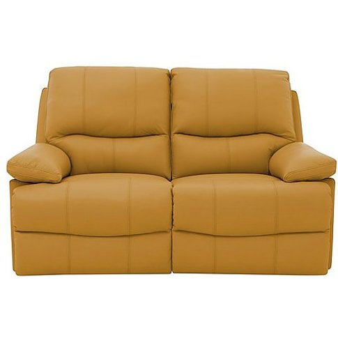 Dallas 2 Seater Leather Manual Recliner Sofa - Yellow