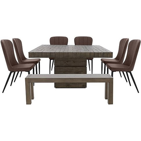 Folsom Square Dining Table, 6 Chairs And Dining Benc...