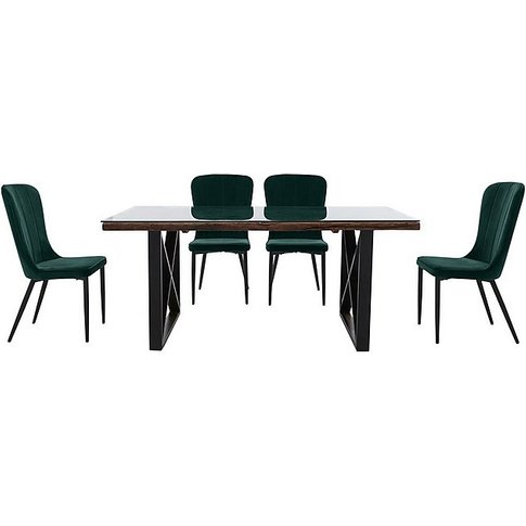 Noir Dining Table With X-Shaped Legs With 4 Chairs D...