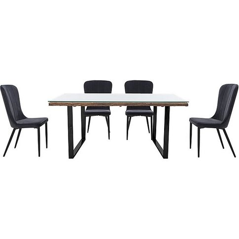 Noir Dining Table With U-Shaped Legs With 4 Chairs D...