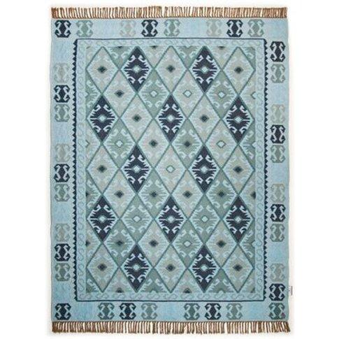 Vintage Handwoven Wool Turquoise Rug