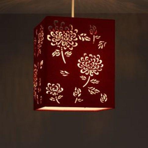 Colours Beryl Claret Floral Laser Cut Light Shade (D...