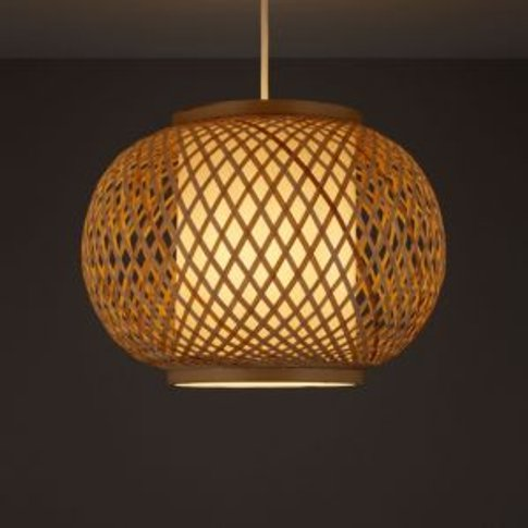 Joyce Natural Rattan With Inner Diffuser Light Shade...