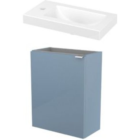 GoodHome Imandra Gloss Blue & white Vanity unit & basin