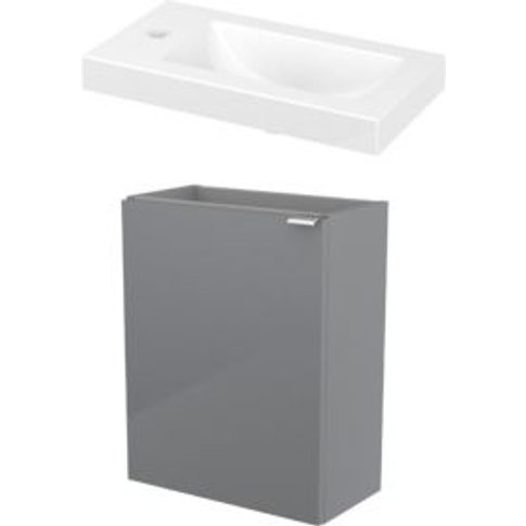 GoodHome Imandra Gloss Grey & white Vanity unit & basin