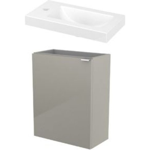 GoodHome Imandra Gloss Taupe & white Vanity unit & b...