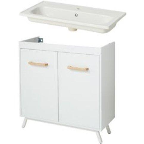 Goodhome Ladoga Gloss White Bathroom Cabinet & Basin