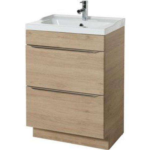 GoodHome Imandra Oak effect Vanity unit & basin  (W)...