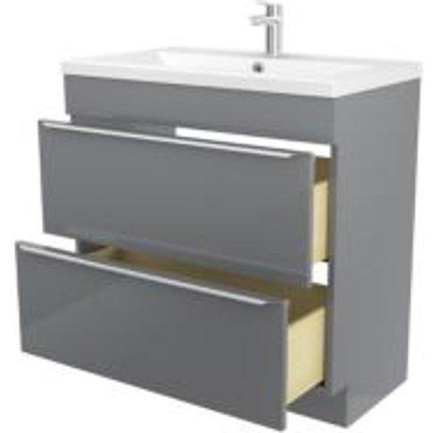 GoodHome Imandra Grey Vanity unit & basin  (W)804mm