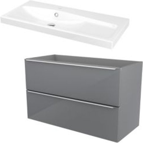 Goodhome Imandra Grey Vanity Unit & Basin  (W)1004mm