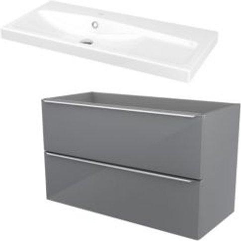GoodHome Imandra Grey Vanity unit & basin  (W)1004mm