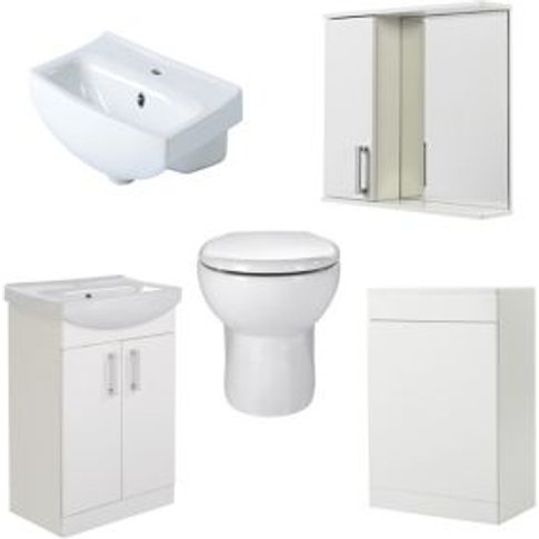 Goodhome Ardenno Back To Wall Toilet  Basin & Mirror Cabinet