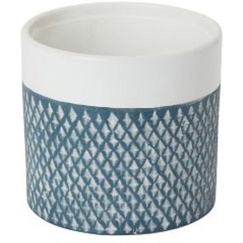 Glazed Blue Coral Clay Diamond Plant Pot (Dia)14cm