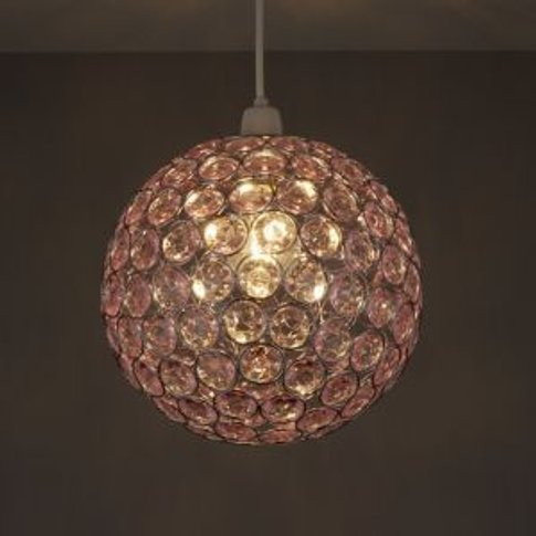 Colours Zoe Light Pink Crystal Effect Beaded Light S...