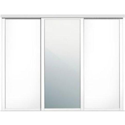 Shaker Mirrored White Sliding Wardrobe Door (W)610mm...