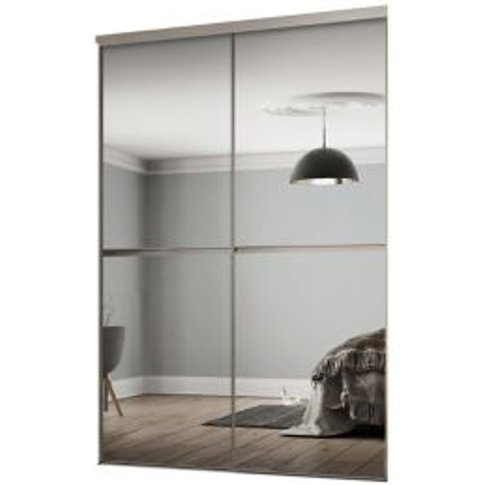 Minimalist Mirrored Sliding Wardrobe Door Kit (H)2260 Mm (W)1808mm  Pack Of 2